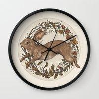 rabbit Wall Clocks featuring Rabbit by Jessica Roux