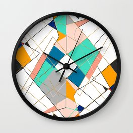 Modern Colorful Abstract Gold Geometric Strokes Wall Clock