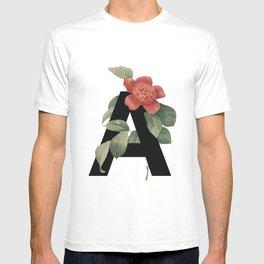 Floral Alphabet Prints: Letter A T-shirt