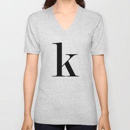 """Monogram Series Letter """"K""""  Unisex V-Neck"""