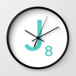 Scrabble Wall Art Blue Letter J Wall Clock