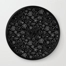 Cephalopods - Black and White Wall Clock
