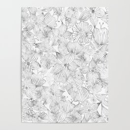 Hand painted black white watercolor tribal floral Poster