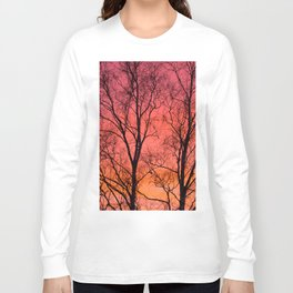Tree Silhouttes Against The Sunset Sky #decor #society6 #homedecor Long Sleeve T-shirt