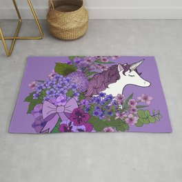 Unicorn in a Purple Garden Rug