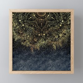 Stylish Gold floral mandala and confetti Framed Mini Art Print