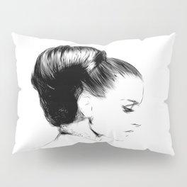 Woman Portrait Fashion Minimal Drawing Pillow Sham