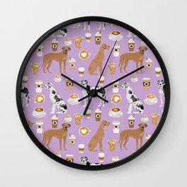 Great Dane coffee cafe dog breed pattern custom pet portrait Wall Clock