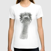 ostrich T-shirts featuring Cute Ostrich SK053 by S-Schukina