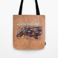 north carolina Tote Bags featuring NORTH CAROLINA by Christiane Engel