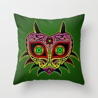 majoras mask Throw Pillows featuring Sugarskull / Majoras mask /color by tshirtsz