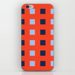 Geometric abstraction: dark and light cobalt blue squares on scarlet red iPhone Skin