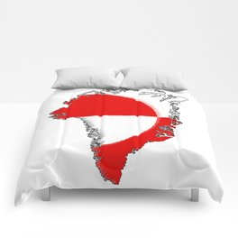 Greenland Map with Flag Comforters