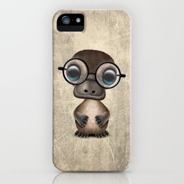 Cute Nerdy Platypus Wearing Glasses iPhone Case