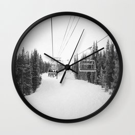 Ski Chair Lift B&W \\ Deep Snow Season Pass Dreams \\ Snowy Winter Mountains Landscape Photography Wall Clock