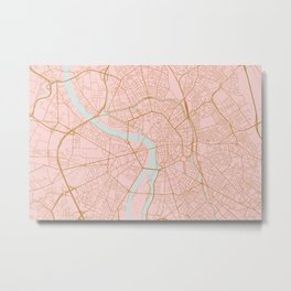 Pink and gold Toulouse map, France Metal Print
