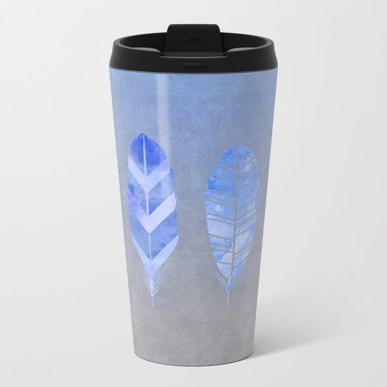 Blue Feather watercolor art Metal Travel Mug