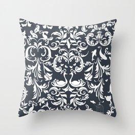 Dark Gray Damask Throw Pillow