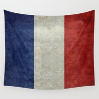 bastille Wall Tapestries featuring Flag of France, vintage retro style by Bruce Stanfield