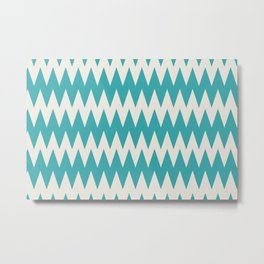 Aqua Teal Turquoise and Alabaster Off White Solid Color Zigzag Pointed Rippled Chevron Horizontal Line Pattern - Aquarium SW 6767 Metal Print