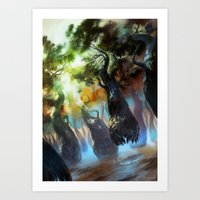 magic the gathering Art Prints featuring Forest - Magic: The Gathering by vmeignaud