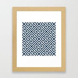 Greek Key Navy Framed Art Print