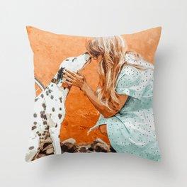Pet Bound #pets #animals #animalslover #painting Throw Pillow