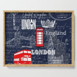 England Red Telephone Booth Double Decker Bus Scripts UK landmark London Serving Tray