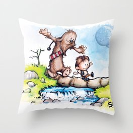 Calvin Solo and Hobbes-bacca Throw Pillow