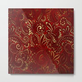Red Burgundy Deep Gold Paisley Floral Pattern Print Metal Print