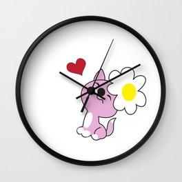 Kitty with daisy flower Wall Clock