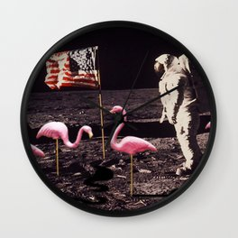 Neil Armstrong And Flamingos on The Moon Wall Clock