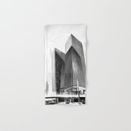 twin buildings at Las Vegas, USA in black and white Hand & Bath Towel