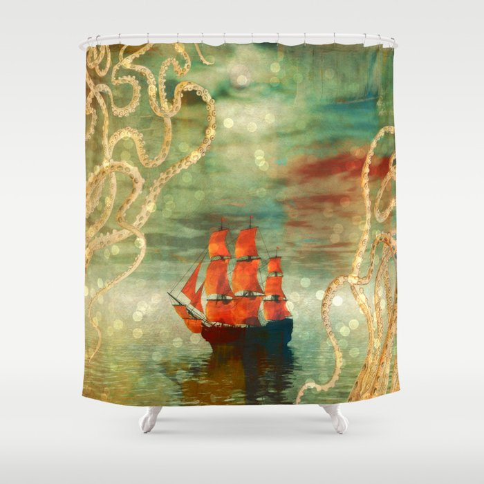 Octopus Ship Abstract Shower Curtain