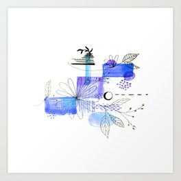Navy Blue Simple Lines And Flowers Art Print