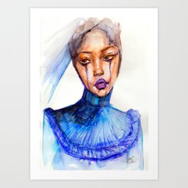 Lady Crying Art Print