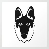 german shepherd Art Prints featuring German Shepherd by anabelledubois