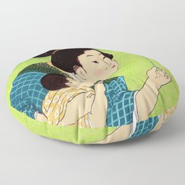 Mrs Hokusai Blows A Dandelion For The Baby Floor Pillow