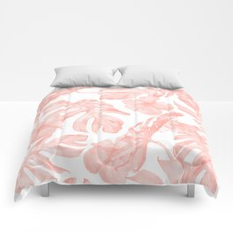 Tropical Palm Leaves Hibiscus Flowers Coral Pink Comforters