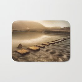 Stepping stones with oil painting effect Bath Mat