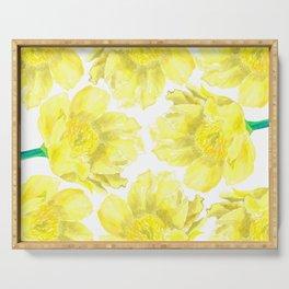Yellow Peony Flower Pattern Serving Tray