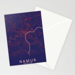 Namur, Belgium, Blue, White, City, Map Stationery Cards