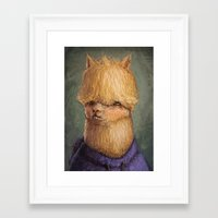 alpaca Framed Art Prints featuring Alpaca by Ronan Lynam