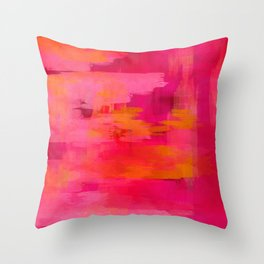 """""""Abstract brushstrokes in pastel pinks and solar orange"""" Throw Pillow"""