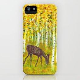 Deer Grazing in a Grove of Golden Aspen Trees iPhone Case