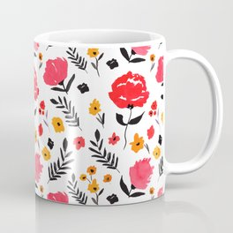 Red Flower Pattern / Roses / Leaves / Nature / French Country / Fall / Autumn Coffee Mug