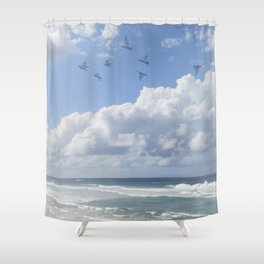 Window Curtains - Flying Away Shower Curtain