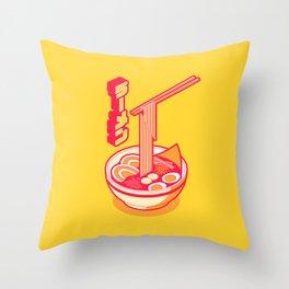 Japanese Ramen Isometric - Yellow Solid Throw Pillow