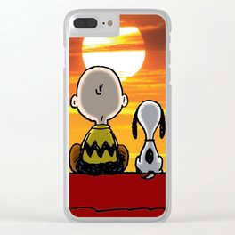 sunset carly snoopy Clear iPhone Case
