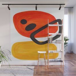 Midcentury Modern Colorful Abstract Pop Art Space Age Fun Bright Orange Yellow Colors Minimalist Wall Mural